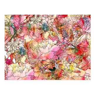 Bosquejo colorido del extracto del estampado de fl tarjeta postal