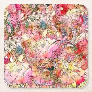Bosquejo colorido del extracto del estampado de posavasos de cartón cuadrado