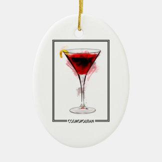 Bosquejo cosmopolita del marcador del cóctel adorno navideño ovalado de cerámica