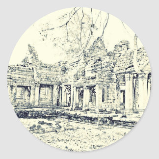 Bosquejo de Angkor Wat Pegatina Redonda