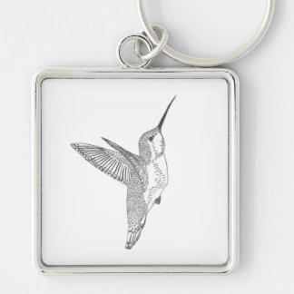 Bosquejo de cernido del colibrí llavero cuadrado plateado