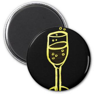 BOSQUEJO de CHAMPÁN de Jill en amarillo en negro Imán Redondo 5 Cm