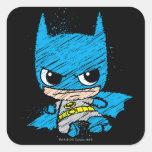 Bosquejo de Chibi Batman Calcomanías Cuadradas Personalizadas