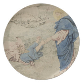 Bosquejo de Cristo que camina en el agua w c en e Platos De Comidas