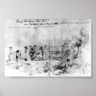 Bosquejo de estados de América confederados, 1861 Póster