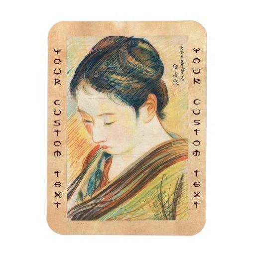Bosquejo de Ito Shinsui del arte kapanese del retr Rectangle Magnet