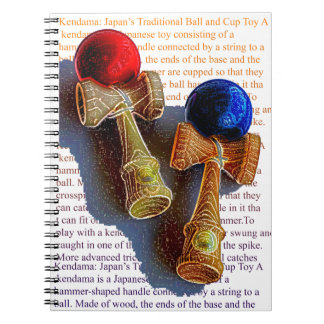 Bosquejo de Kendama, rojo y azul del color de la Libro De Apuntes