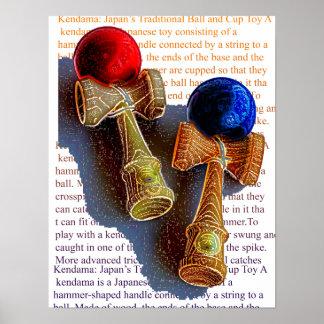 Bosquejo de Kendama, rojo y azul del color de la Póster