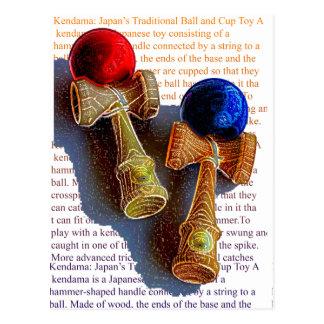 Bosquejo de Kendama, rojo y azul del color de la Postal