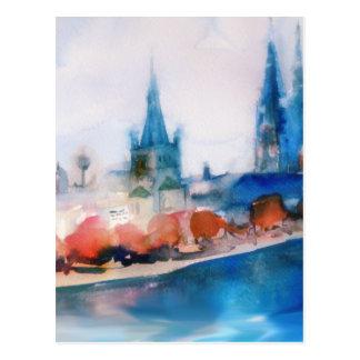 bosquejo de la acuarela de la catedral del cologne postales