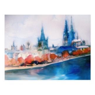bosquejo de la acuarela de la catedral del cologne tarjetas postales
