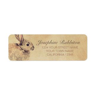 Bosquejo de la acuarela del conejo etiqueta de remite