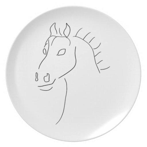 Bosquejo de la cabeza de caballo plato de cena