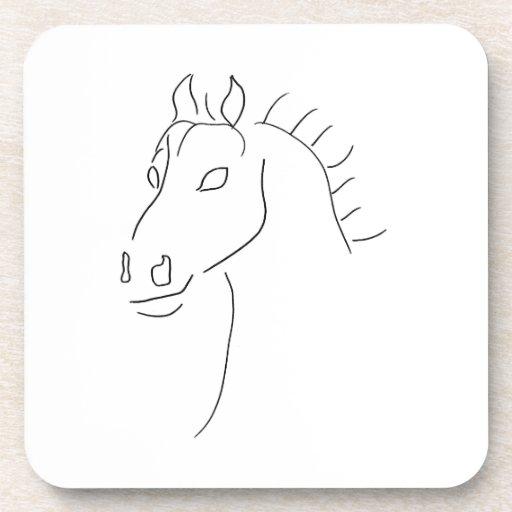 Bosquejo de la cabeza de caballo posavasos