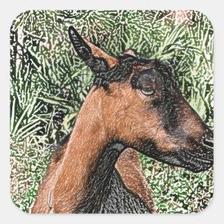 bosquejo de la cabra de la gama del oberhasli pegatina cuadrada