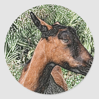 bosquejo de la cabra de la gama del oberhasli pegatina redonda