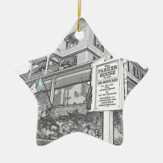 Bosquejo de la casa de Parker - orilla del jersey Adorno De Cerámica En Forma De Estrella