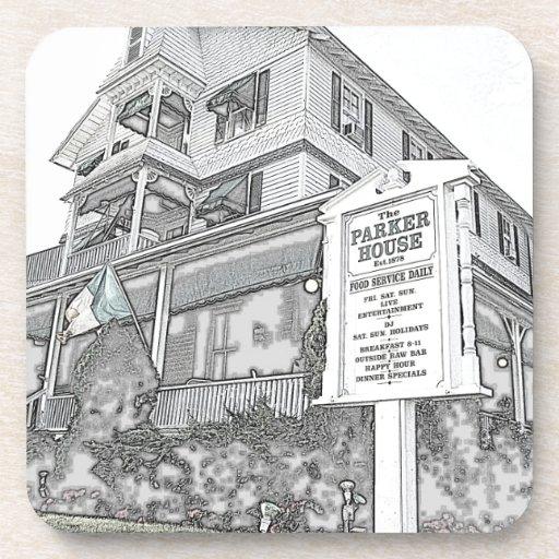 Bosquejo de la casa de Parker - orilla del jersey Posavasos De Bebidas