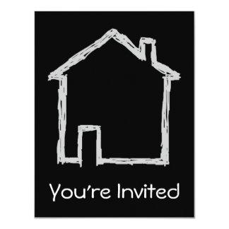 """Bosquejo de la casa. Gris y negro Invitación 4.25"""" X 5.5"""""""