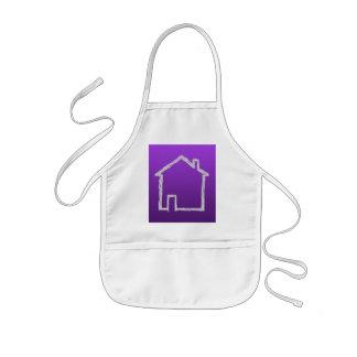 Bosquejo de la casa. Gris y púrpura Delantales