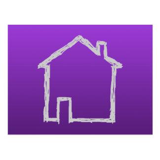 Bosquejo de la casa. Gris y púrpura Postal