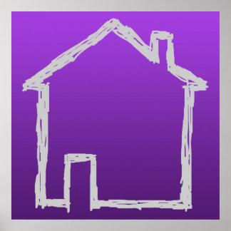 Bosquejo de la casa. Gris y púrpura Póster