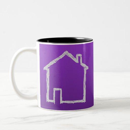 Bosquejo de la casa. Gris y púrpura Taza De Café