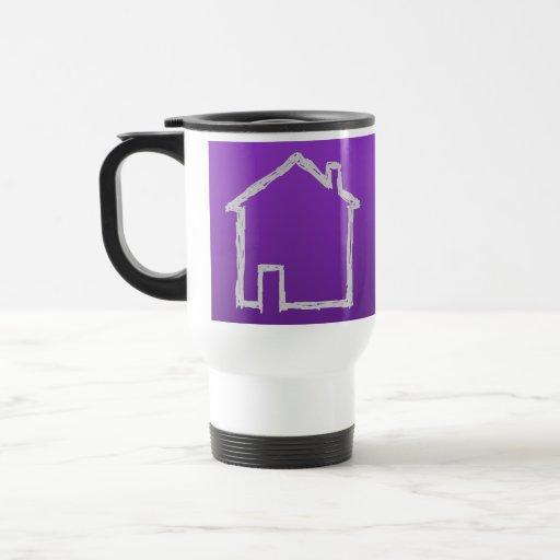 Bosquejo de la casa. Gris y púrpura Tazas