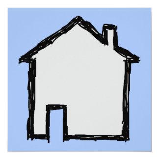 """Bosquejo de la casa. Negro y azul Invitación 5.25"""" X 5.25"""""""