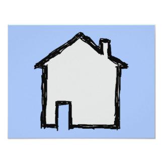 """Bosquejo de la casa. Negro y azul Invitación 4.25"""" X 5.5"""""""