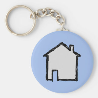 Bosquejo de la casa Negro y azul Llaveros Personalizados