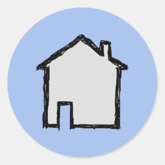 Bosquejo de la casa. Negro y azul Pegatina Redonda