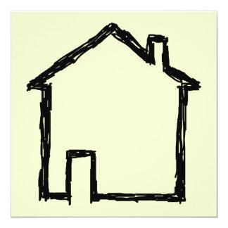"""Bosquejo de la casa. Negro y crema Invitación 5.25"""" X 5.25"""""""