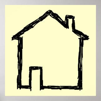 Bosquejo de la casa. Negro y crema Poster