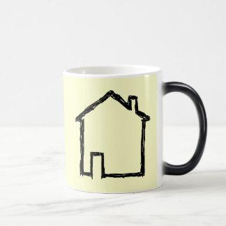 Bosquejo de la casa Negro y crema Tazas De Café