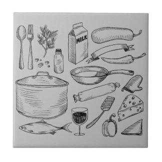 Bosquejo de la comida azulejo cuadrado pequeño