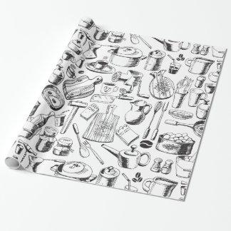 Bosquejo de la comida papel de regalo