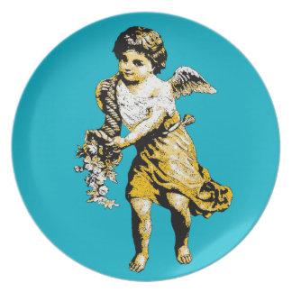 Bosquejo de la cornucopia del ángel platos