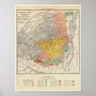 Bosquejo de la encuesta sobre Adirondack - mapa de Póster