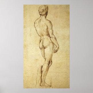 Bosquejo de la estatua de David de Miguel Ángel Póster