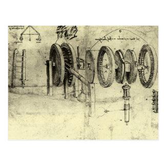 Bosquejo de la ingeniería de una rueda de Leonardo Tarjeta Postal