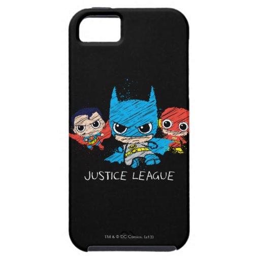 Bosquejo de la liga de justicia de Chibi iPhone 5 Carcasas