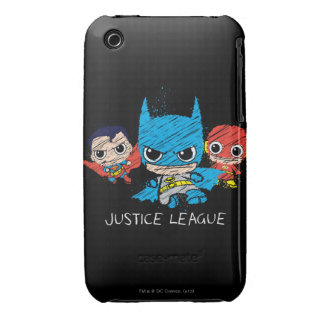 Bosquejo de la liga de justicia de Chibi iPhone 3 Case-Mate Cárcasa