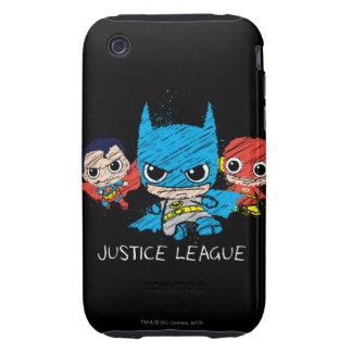 Bosquejo de la liga de justicia de Chibi Tough iPhone 3 Carcasas