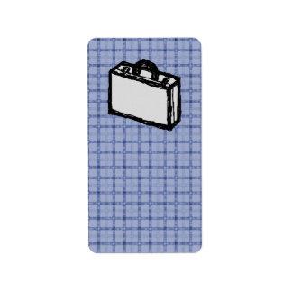 Bosquejo de la maleta de la cartera o del viaje de etiquetas de dirección