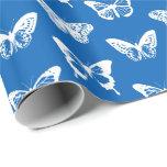Bosquejo de la mariposa, azul de cobalto y blanco papel de regalo
