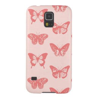 Bosquejo de la mariposa, rosa del coral funda para galaxy s5