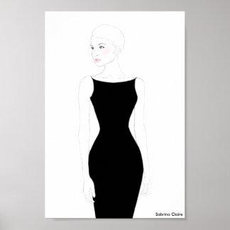 Bosquejo de la moda - poco vestido negro póster