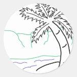 Bosquejo de la palmera pegatinas redondas