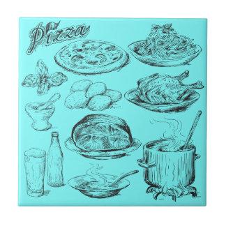 Bosquejo de la pizza azulejo cuadrado pequeño